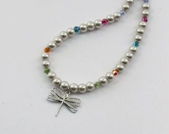 Platinum-plated dragonfly necklace with glass pearls and Swarovski crystals