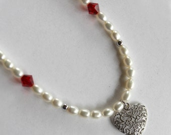 Freshwater pearl platinum plated necklace with heart pendant and Swarovski crystals
