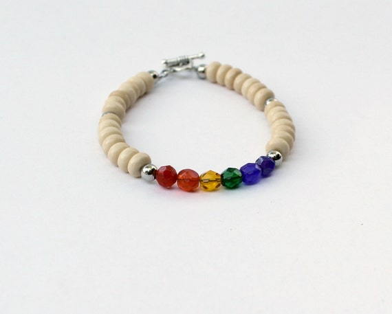 Unisex rainbow bracelet with Czech glass and wood beads gay pride