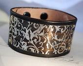 Silver Bracelet Leather Cuff with Vine Design