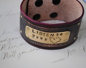 Hand stamped Inspiration Bracelet Listen to your heart Etched Copper Oxblood Leather
