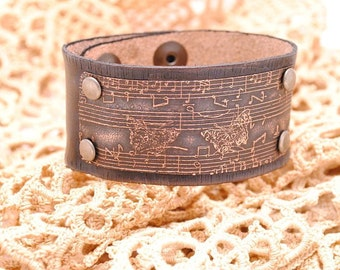 Distressed Leather Bracelet Etched Copper Cuff Music and Butterflies