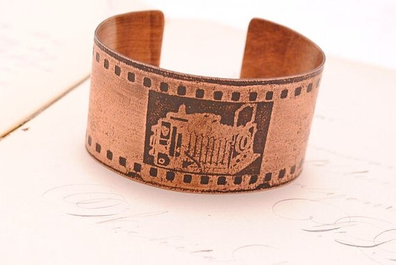 RESERVED FOR KELLY Etched Copper Bracelet Cuff Camera with 35mm film Photographer Gift