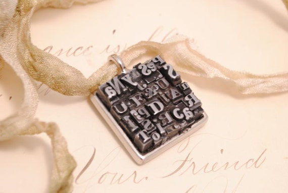Letterpress Necklace Writer Gift