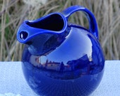 RESERVED FOR JEANETTE Vintage Cobalt Blue Tilted Ball Hall Pottery Pitcher With Ice Lip