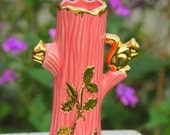 22 Karat Gold Warranted Tree Vase, Pink with Gold Squirrels