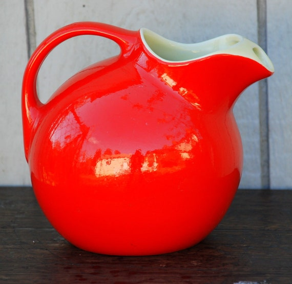 Stunning Vintage Chinese Red Hall Pottery 1930's to 1940's Ball Pitcher With Ice Lip