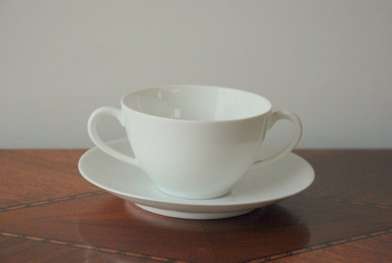 SALE White Teacup and Saucer Pre-World War II  Fraureuth Germany Collectible