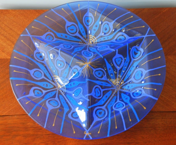SALE Midcentury Higgins Art Glass Partitioned Plate Blue Peacock Pattern FREE SHIPPING