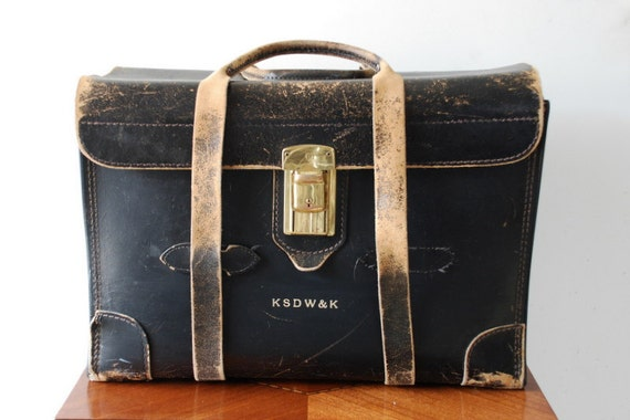 Vintage Doctor or Lawyer Briefcase / Bag, Black Leather with Straps and Handle