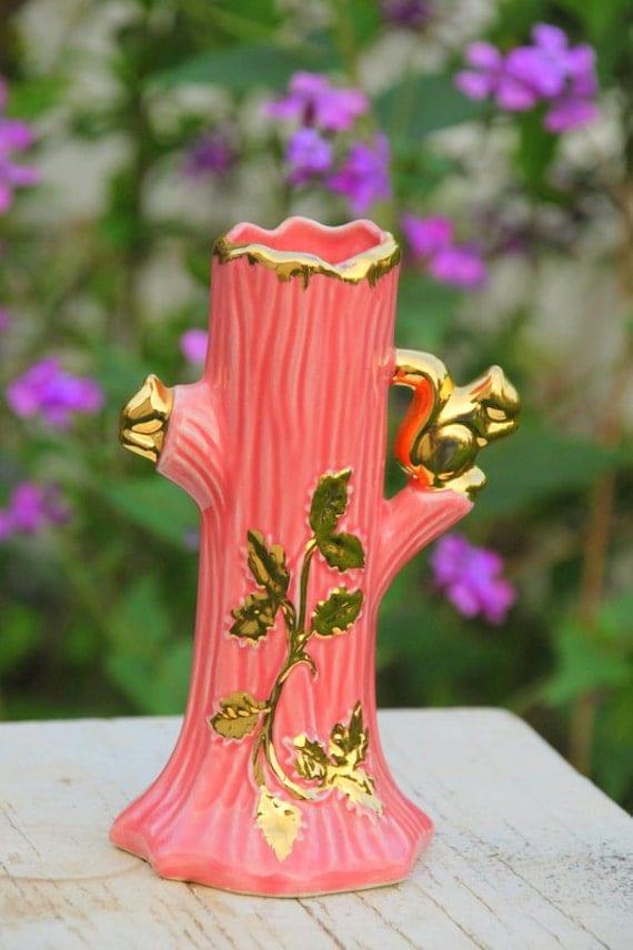 22 karat gold warranted tree vase pink with gold squirrels. Black Bedroom Furniture Sets. Home Design Ideas