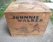 good solid shape vintage JOHNNIE WALKER WOODEN red label whiskey box