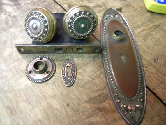 nice 1800s vintage antique victorian BRONZE DOORKNOB SET
