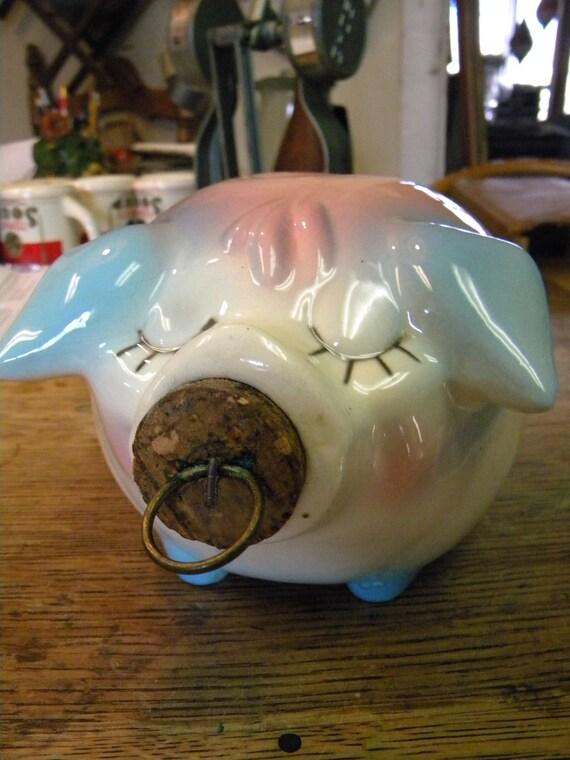 clean vintage shiny 1957 hull pottery  CORKY PIG piggy BANK