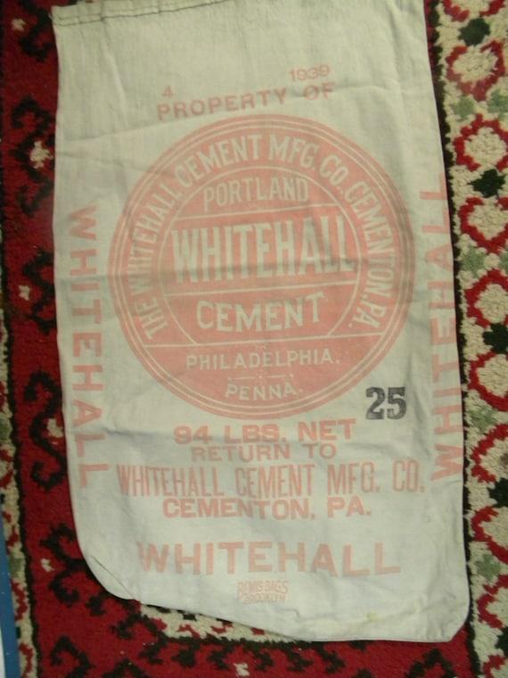 nice vintage advertising WHITEHALL CEMENTON pa CEMENT bag sack