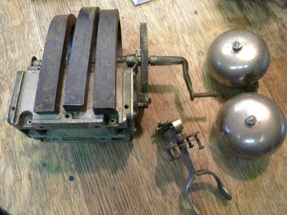 vintage antique 1894 WALL CRANK TELEPHONE parts bells magneto receiver holder