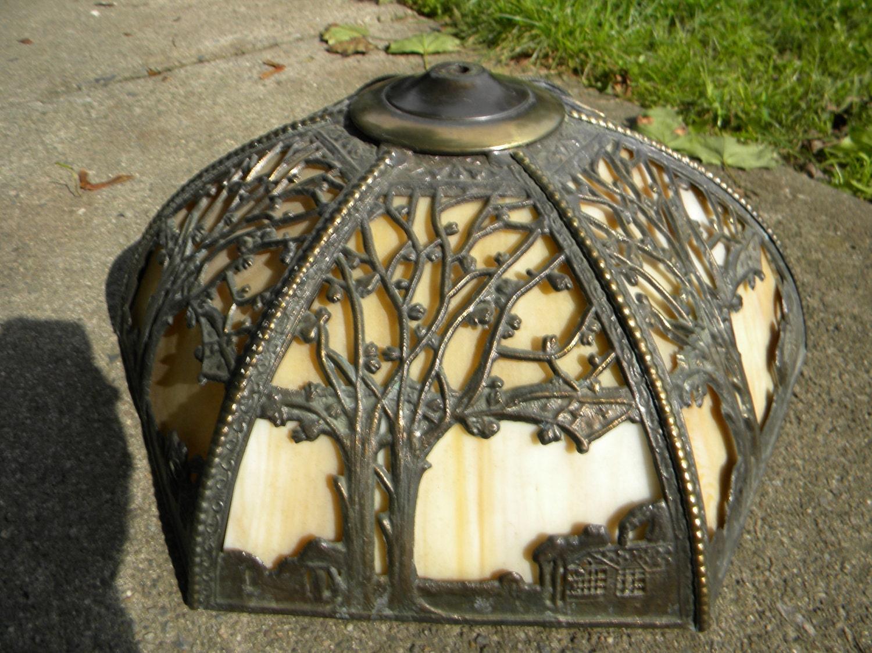 Fantastic Vintage Antique Art Nouveau Slag Glass Panel Lamp