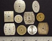 Antique Vintage brass, silver, gold tone round, square wristwatch pocket, watch dials lot of 10, jewelry, Steampunk Art Supplies 361