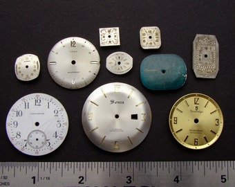 Antique Vintage brass, silver, gold tone round, square wristwatch pocket, watch dials lot of 10, jewelry, Steampunk Art Supplies 902