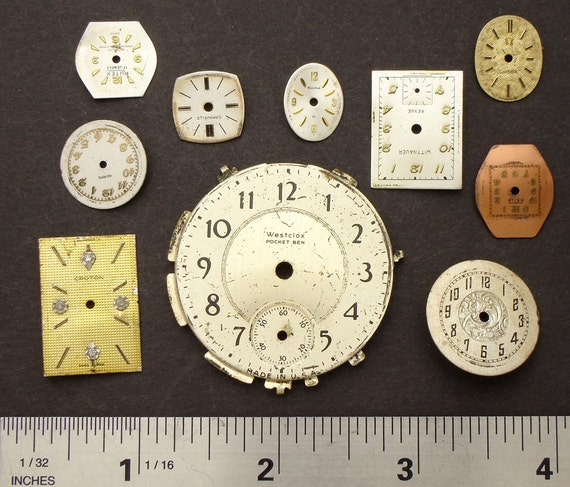 Antique Vintage brass, silver, gold tone round, square wristwatch pocket, watch dials lot of 10, jewelry, Steampunk Art Supplies 929