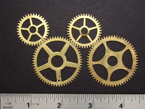 Steampunk parts Antique brass clock work gears cogs wheels vintage for goggles sculpture jewelry industrial assemblage altered art 2093