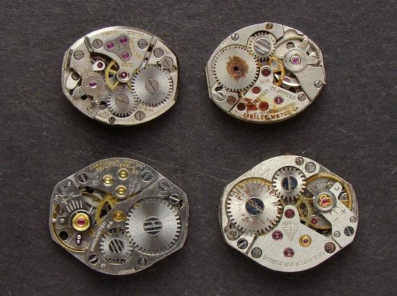 Steampunk Supplies Vintage silver watch movements gears for cuff links earrings jewelry Steampunk cufflinks industrial altered art 2351