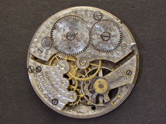 Steampunk Supplies Antique Vintage grungy engraved pocket watch movement brass silver watch parts gears cogs wheels altered art jewelry 2302