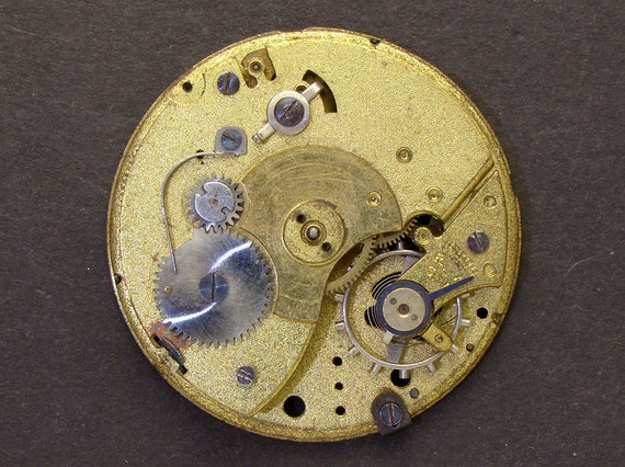 Antique Vintage gold engraved pocket watch movement brass silver watch parts gears wheels altered art jewelry Steampunk Art Supplies 2290