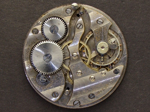 Steampunk Supplies Antique Vintage engraved pocket watch movement brass silver watch parts gears cogs wheels altered art jewelry 2312