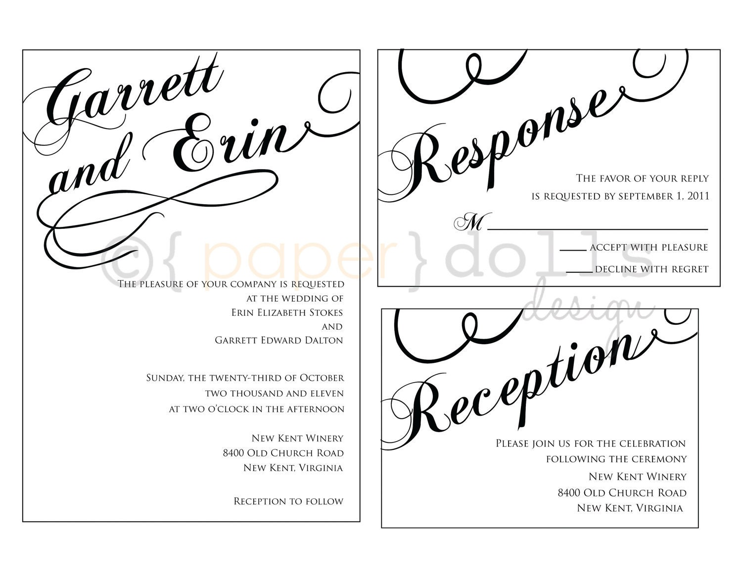 Text For Wedding Invitations: Printable Scrolly Text Wedding Invitation Customizable