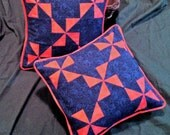 """14"""" """"flutterwheel"""" pillow, bright pink and blue rose pattern"""