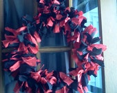 """Red and Black Hand Made Rag Wreath 15"""""""