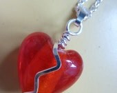 Broken Heart Necklace - Wire wrapped glass pendant by Weirdly Cute jewelry - Cute Valentine's Day Jewelry