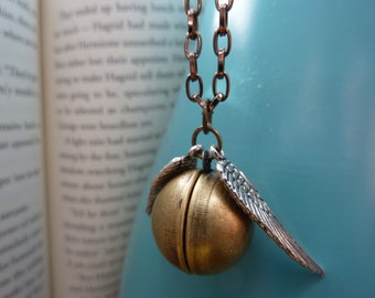 Golden Winged Ball Locket Necklace - Wizard Jewelry by Weirdly Cute
