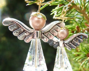 Christmas Angel Earrings - Cute Crystal Holiday Earrings by Weirdly Cute - Great Unique Gift Idea for Her Under 25