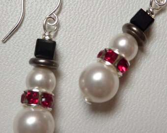 Cute Snowman Earrings in Swarovski Pearl and Crystal - Weirdly Cute Christmas Jewelry - Unique Holiday Gift