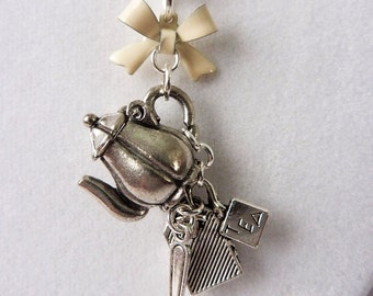 Tea Party Charm Necklace with Hinged Teapot, Tea Bag, Spoon, and Cream Bow - Cute Unique Tea Time Necklace by Weirdly Cute Jewelry