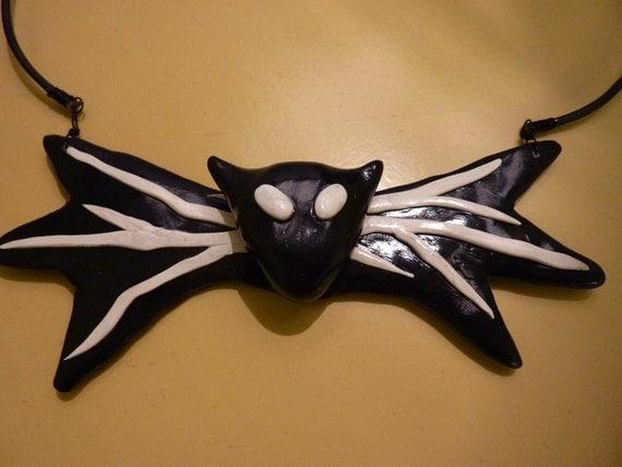 Jack Skellington Bat Bow Tie Necklace - Nightmare Before Christmas Inspired Cute Halloween Choker