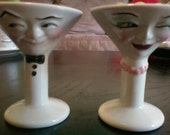 Vintage Mr. & Mrs. Martini Salt and Pepper Shakers