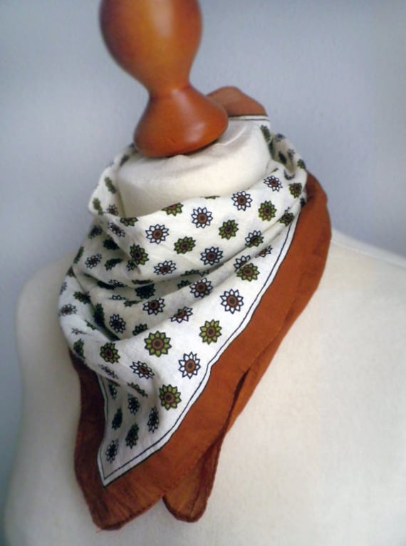 SALE SCARF Brown Floral print Cotton Square scarf, Folk German Retro scarf. Cute Soft Lovely