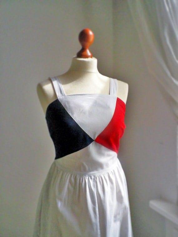 Vintage cotton beach summer 60s / white red blue/  stylish dress