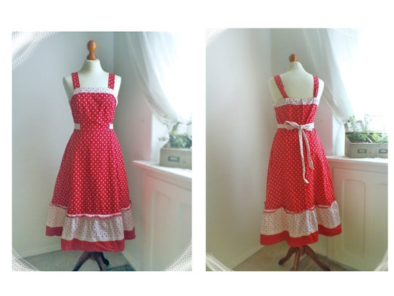 Vintage Alice / adorable 70s red&white dress / floral / multiple wearable/ summer cotton/ M / Germany