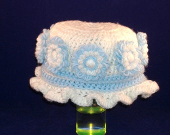 Toddler Crocheted Ruffled Hat, White and Blue with Loomed Flowers All Around