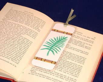 REDUCED PRICE - Double Sided Bookmark, Hand Stenciled Paper Laminated - Green Fern Leaf