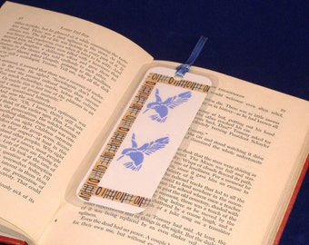 REDUCED PRICE - Double Sided Bookmark, Hand Stenciled Paper Laminated - Periwinkle Hummingbirds