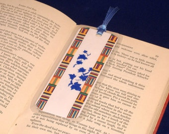REDUCED PRICE - Double Sided Bookmark, Hand Stenciled Paper Laminated - Periwinkle Ivy