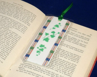 REDUCED PRICE - Double Sided Bookmark, Hand Stenciled Paper Laminated - Green Double Ivy