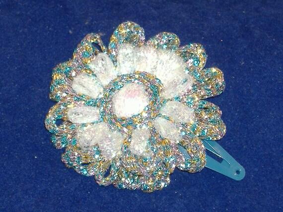 Loomed Sparkle Silver & White Metallic Flower Hair Clip