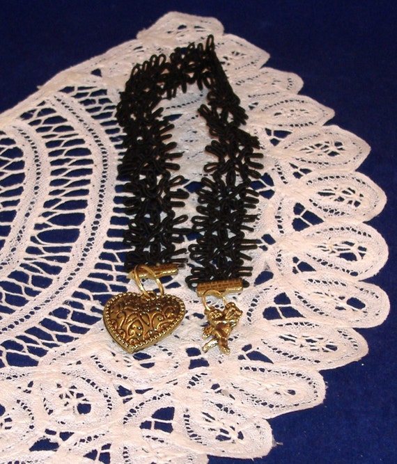REDUCED PRICE - Booklovers Bookmark - Black Open Weave Trim with Brass Charms - 3D Cupid & Chunky Heart
