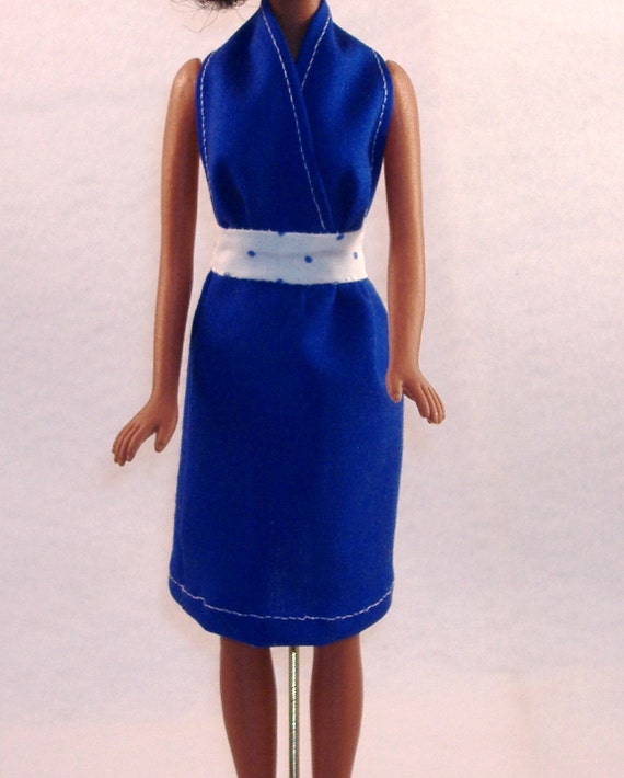 Handmade Barbie Summer Halter Dress - Blue with Blue & White Waistband Polka Dots